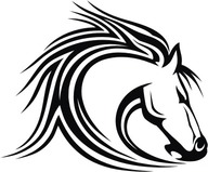 tribal mustang horse head sticker Black and White Mustang